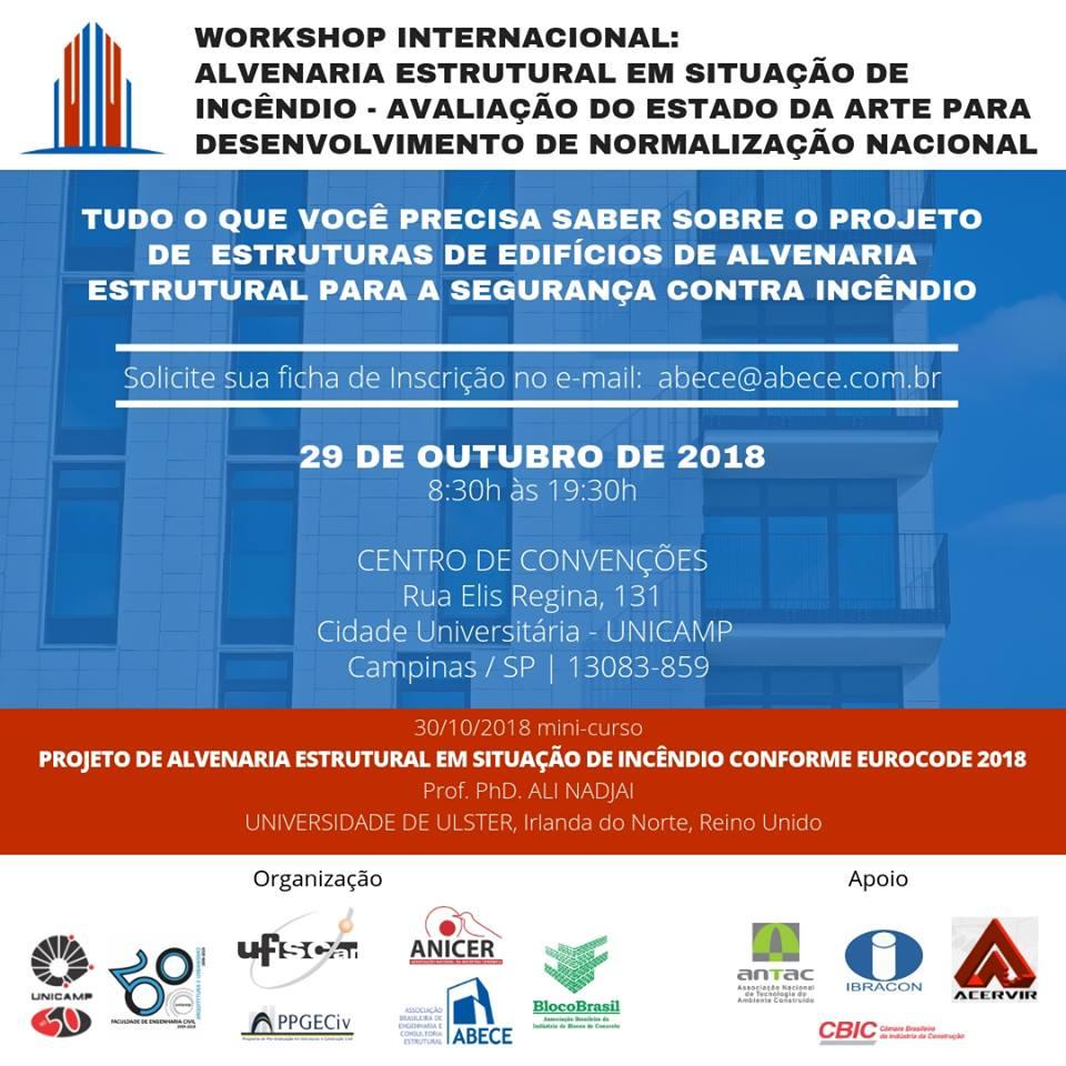 WORKSHOP INTERNACIONAL: ALVENARIA ESTRUTURAL EM SITUAÇÃO DE INCÊNDIO