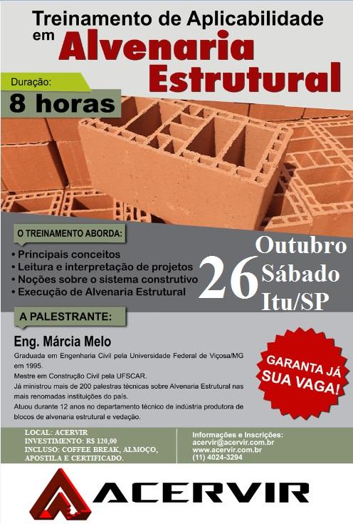 TREINAMENTO DE APLICABILIDADE EM ALVENARIA ESTRUTURAL PARA BLOCOS CERÂMICOS – 2019