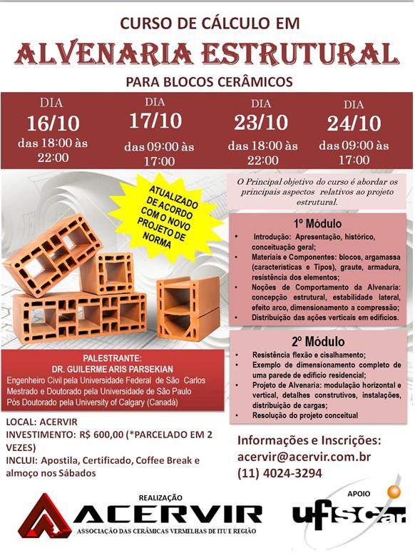 O CURSO DE CÁLCULO EM ALVENARIA ESTRUTURAL PARA BLOCOS CERÂMICOS ESTÁ COM NOVA DATA!!!